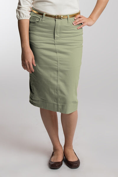 Spearmint Color Denim Skirt