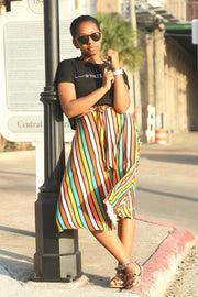 'Arya' Striped Midi Skirt