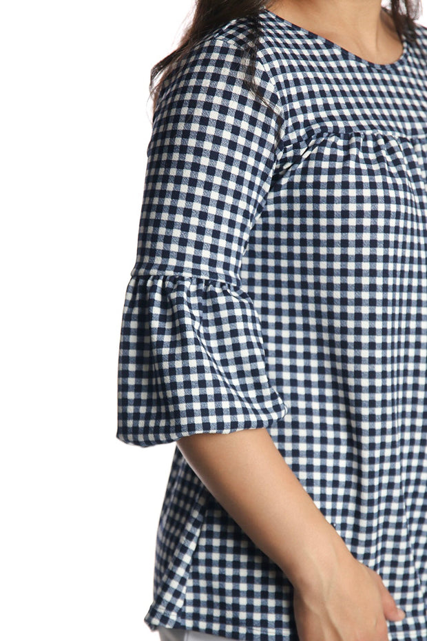 'Kaley' Navy & White Gingham Bubble Sleeve Top