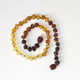 "Raw Unpolished Baltic Amber Infant to Adult Jewelry -Necklace, Bracelet & Anklet -Dark Ombre, 7""-24"""