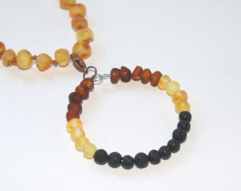 Raw Unpolished Baltic Amber Pendant w/Lava Stone Diffuser - Kids & Adult Jewelry Charm - rainbow