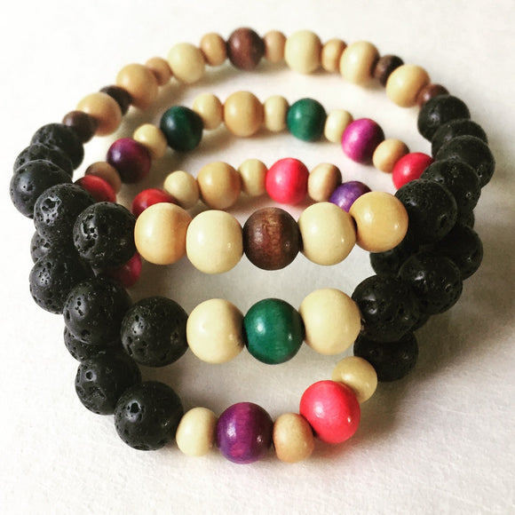 Lava Stone Diffuser Jewelry, Bracelet for Children & Adults, sizes 5.5
