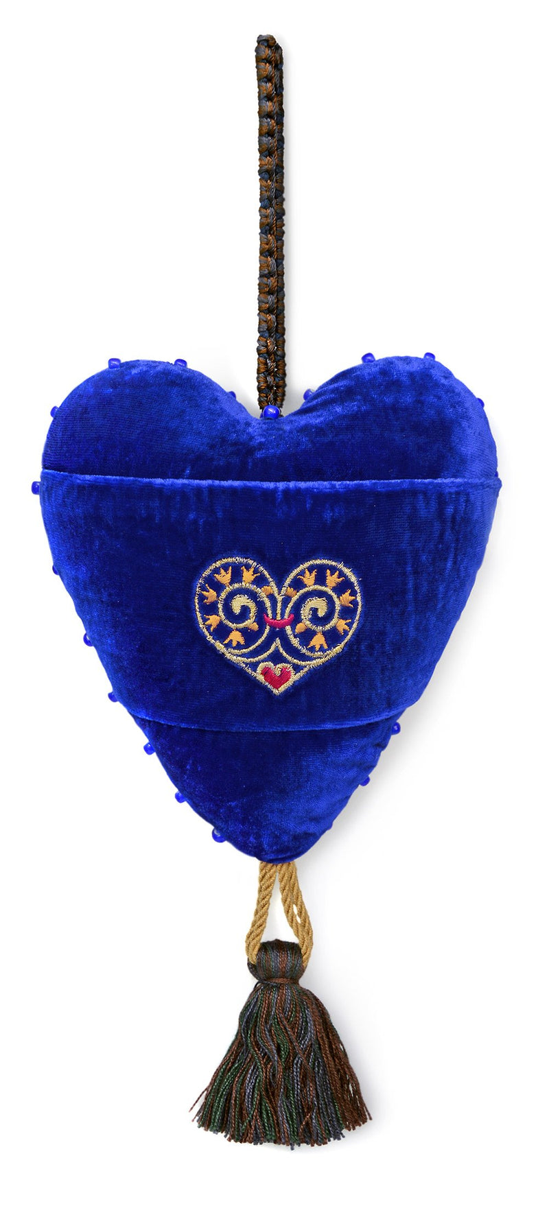 Love is Enough - embroidered antique brocade Love Heart Charm