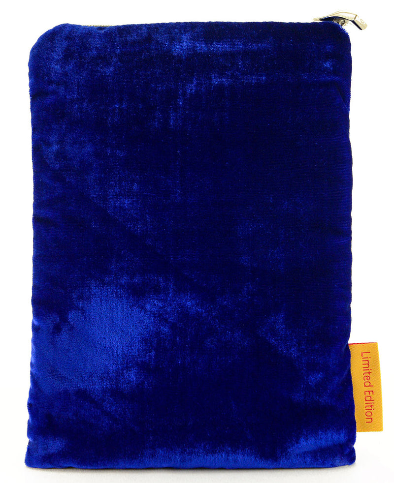 La Lune silk velvet embroidered pouch - cobalt blue version