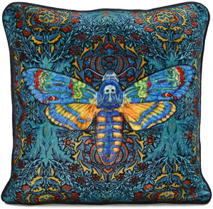 stag moth, deaths head moth, hawkmoth, cushion, pillow, silk velvet, printed, william morris, arts and crafts