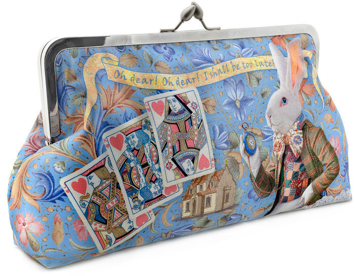 The White Rabbit printed clutch bag. Satin purse with Alice and White Rabbit print. By Baba Studio
