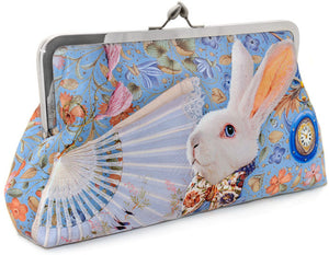 The White Rabbit printed clutch bag in satin. Alice and White Rabbit print. By Baba Studio