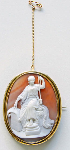 The Goddess Fate. Victorian carved shell cameo. Wonderful quality.