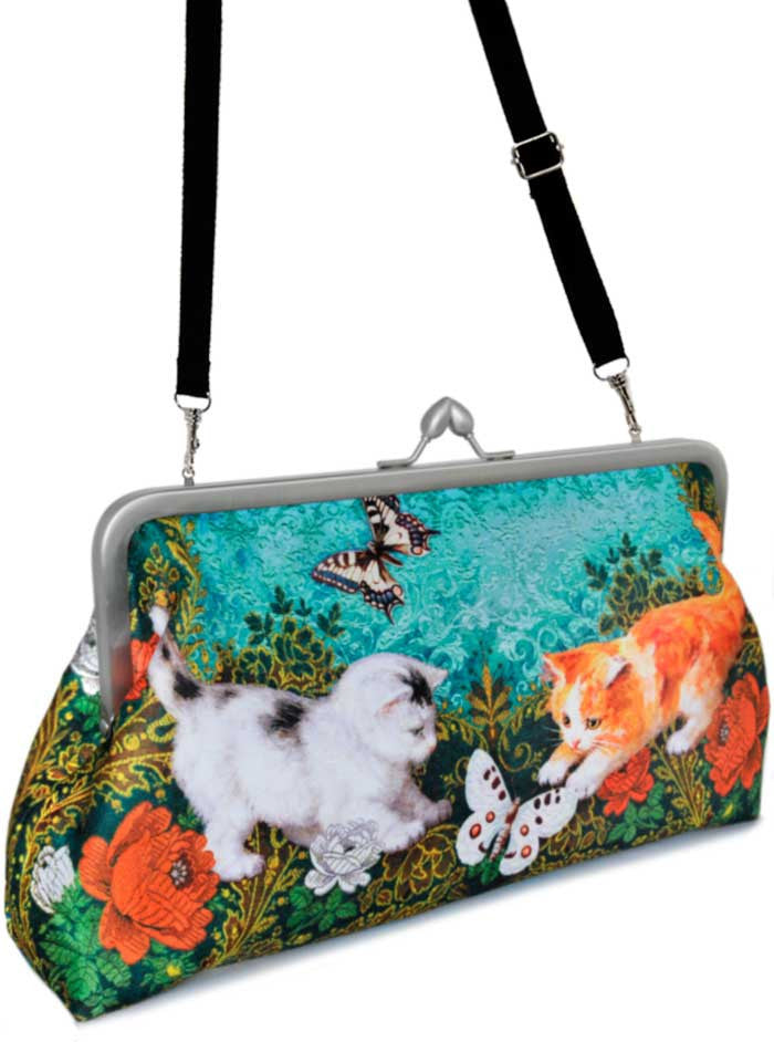 Victorian Kittens, 10 inch size clutch in dupion - Baba Store - 4