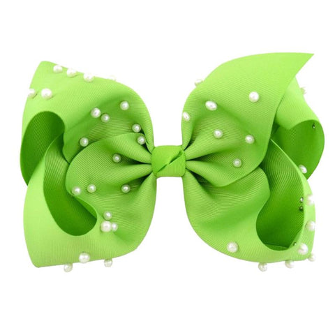 8 Inch Hair Bow Lime Pearl Signature