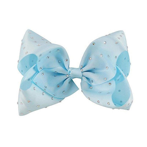 8 Inch Hair Bow Rhinestone Light Blue Signature