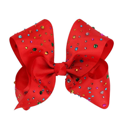 8 Inch Hair Bow Rainbow Rhinestone Red Signature