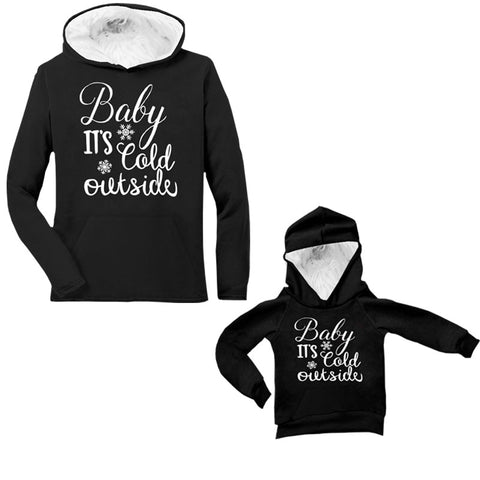 Black Fur Hoodie Baby Its Cold Outside Mommy Me