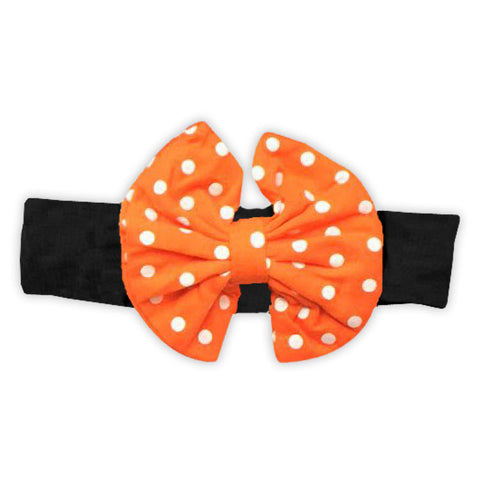 Black Orange Polka Messy Bow Headband
