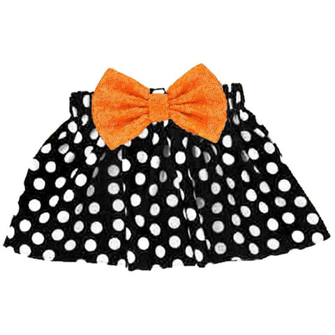 Black Polka Dot Skirt Orange Sequin Bow