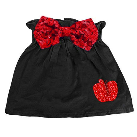 Black Red Apple Skirt Sequin Bow