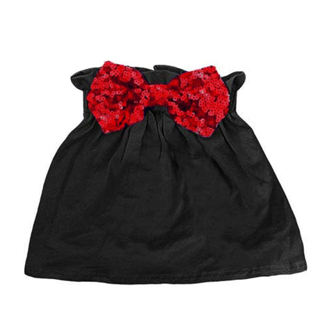 Black Red Sequin Skirt Bow