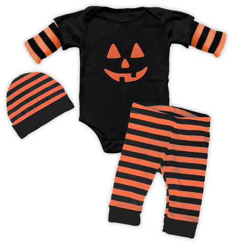 Black Stripe Pumpkin Boy Onesie Pant Set