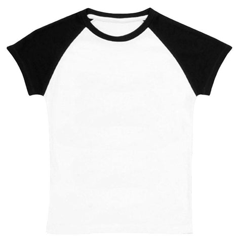 Black White Raglan Shirt Short Sleeve Girl