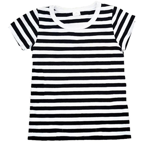 Black White Stripe Shirt Short Sleeve