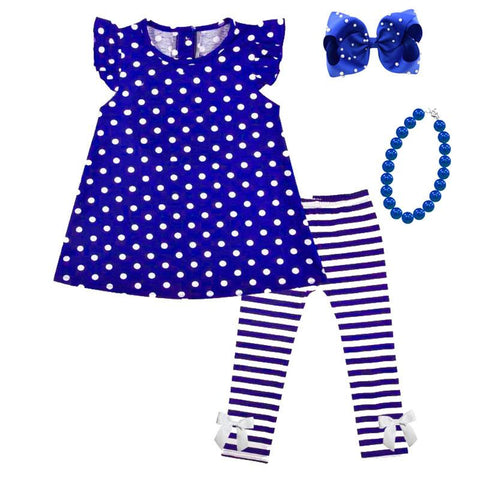 Blue Stripe Outfit Polka Dot Top And Pants
