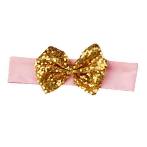 Blush Pink Gold Sequin Bow Headband