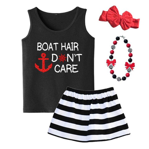 Boat Hair Dont Care Tank Top Black Red Sparkle