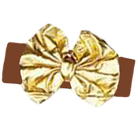 Brown Gold Headband Messy Bow