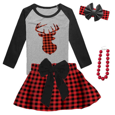 Buffalo Plaid Deer Shirt Gray Black Raglan