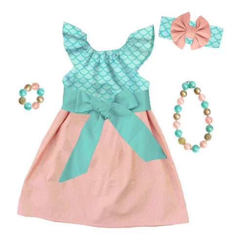 Coral Mermaid Dress Teal Scales Bow