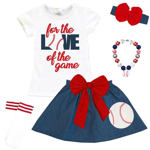 For The Love Of The Game Outfit Denim Top And Skirt
