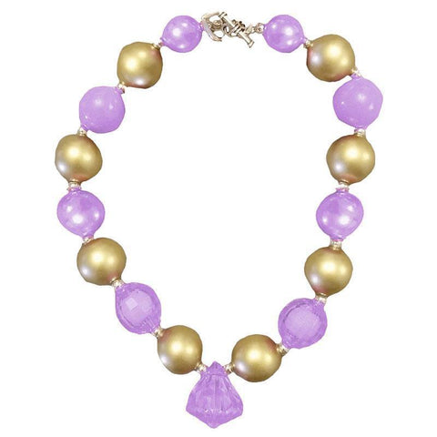 Gold Purple Necklace Diamond Chunky Gumball
