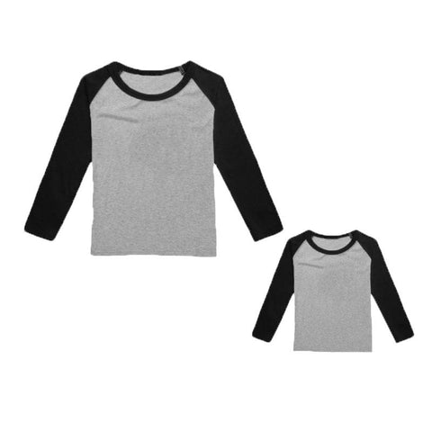Gray Black Raglan Shirt Long Sleeve Mommy Me