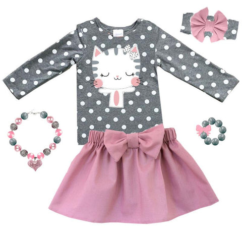 Heather Gray Kitty Cat Outfit Polka Dot Top And Skirt Muave
