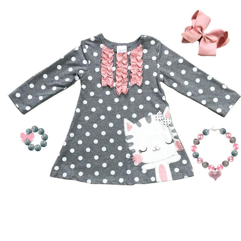 Heather Gray Polka Dot Dress Kitty Cat Ruffle