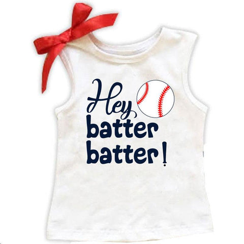 Hey Batter Batter Baseball Tank Top Red Bow