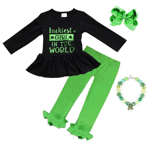 Luckiest Girl In The World Outfit Green Top And Pants