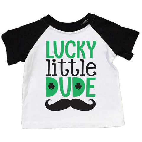Lucky Little Dude Shirt Black Raglan Boy