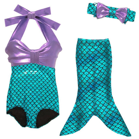 Mermaid Teal Swimsuit Purple One Piece And Tail