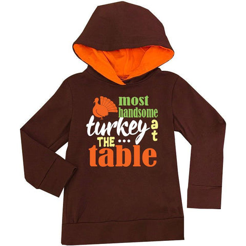 Most Handsome Turkey Hoodie Brown Orange Boy