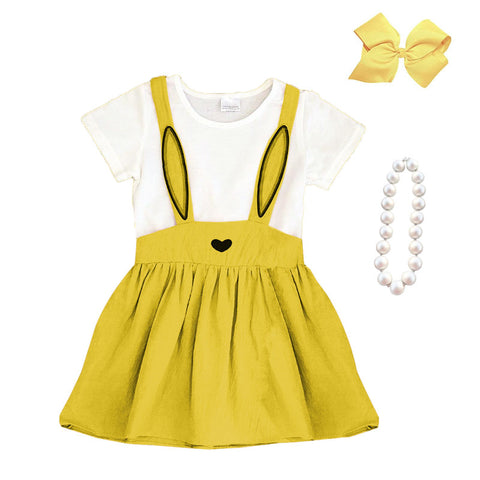 Mustard Bunny Ears Dress Heart