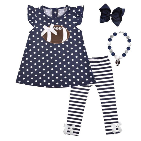 Navy Football Outfit Polka Dot Stripe Top And Pants