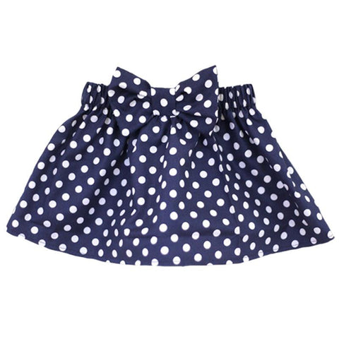 Navy Polka Dot Skirt Bow