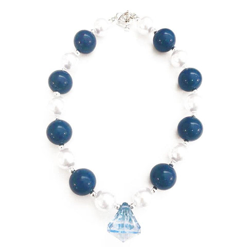 Navy Silver Necklace Blue Diamond Chunky Gumball