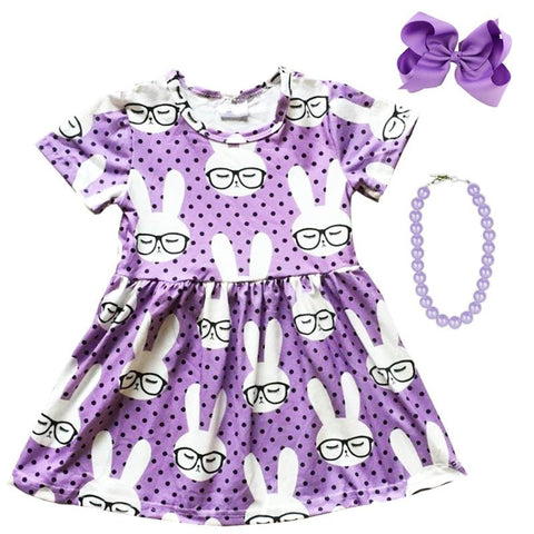 Purple Bunny Dress Black Polka Dot Glasses