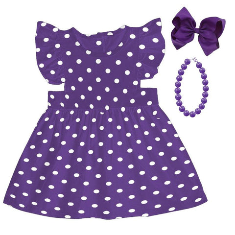 Purple Dress Polka Dot Ruffle Shoulders