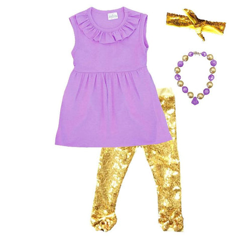 Purple Gold Outfit Gold Sequin Bow Top And Pants