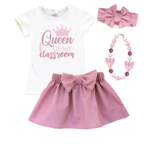 Queen Of Classroom Outfit Mauve Pink Top And Skirt