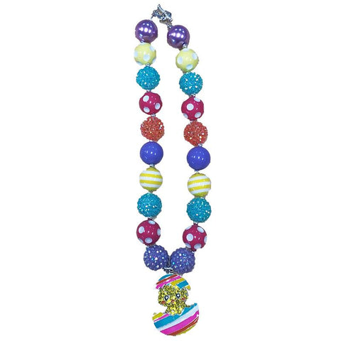 Rainbow Easter Egg Chick Necklace Chunky Gumball