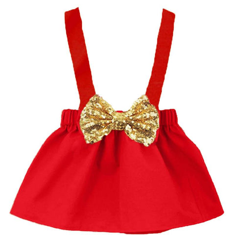 Red Jumper Gold Sequin Bow